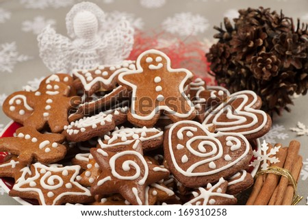 Homebaked Christmas Gingerbread Cookies - stock photo