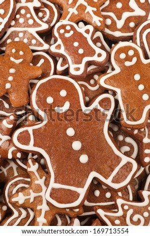 Homebaked Christmas Gingerbread Cookies Background - stock photo