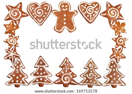 Homebaked Christmas Gingerbread Cookies border isolated on white - stock photo