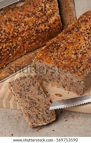 Homebaked Healthy Wholegrain Bread - stock photo