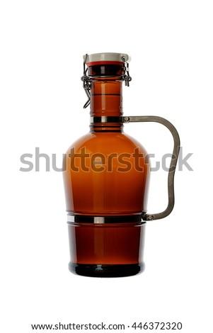 Homebrew Beer in Swing Top Growler with Handle - stock photo