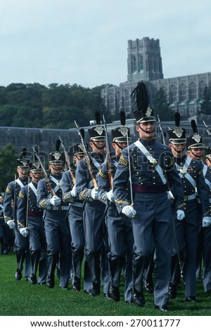 Homecoming parade of cadets at West Point Military Academy, New York
