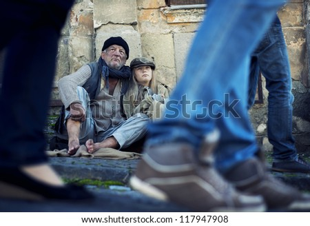 Homeless abandoned family - stock photo