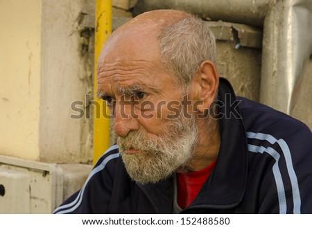 Homeless beggar - stock photo