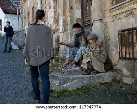 Homeless family - stock photo