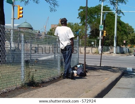 Homeless Freeway Man - stock photo