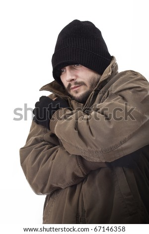 Homeless man, isolated in white - stock photo