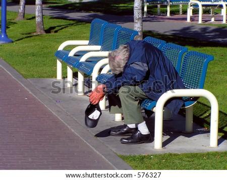 Homeless Man Sleeping - stock photo