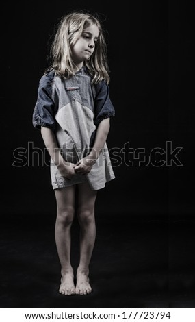 Homeless or neglected child - stock photo