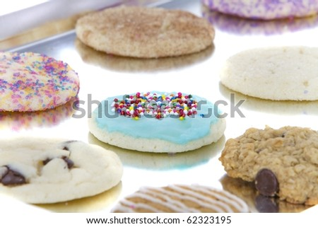 homemade allergen free cookies on cookie sheet - stock photo