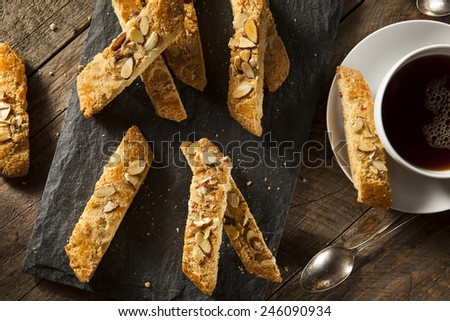 Homemade Almond Biscotti Pastry Ready for Breakfast - stock photo