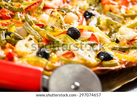 Homemade and healthy vegetables pizza.