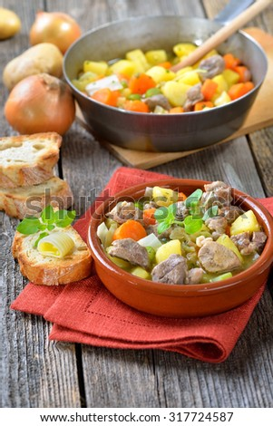 Homemade and slow cooked Irish stew with lamb, potatoes and other vegetables