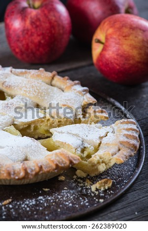 homemade apple pie and fresh fruits