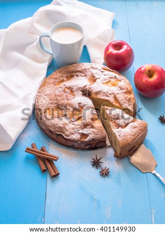 Homemade Apple Pie Dessert.  Blue wooden table, with copy space text.  - stock photo