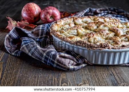 Homemade Apple Pie, Dessert Ready to Eat - stock photo