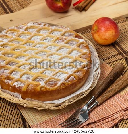 Homemade Apple Pie Dessert Ready to Eat. Selective focus. - stock photo