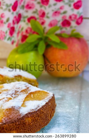 homemade apple pie, strudel, on outdoor rural background - stock photo