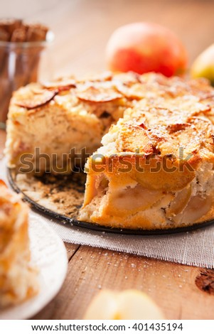 Homemade apple pie with cinnamon and powdered sugar on a rustic wooden background, selective focus - stock photo