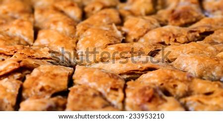 Homemade baklava - Turkish filo sweet pastry  - stock photo