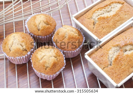 Homemade Banana Bread or Cake in a stainless tray fresh