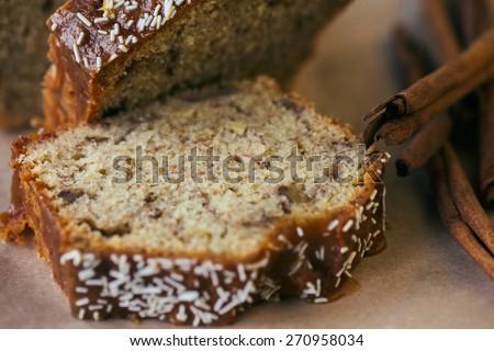 Homemade banana cake - stock photo