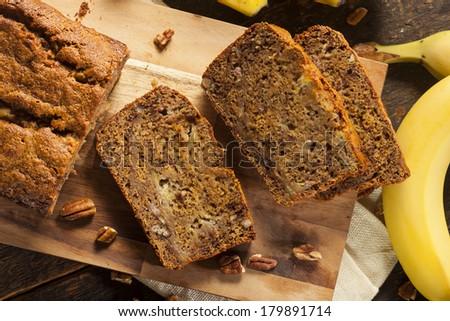 Homemade Banana Nut Bread Cut into Slices - stock photo