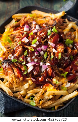 Homemade BBQ Pulled Pork French Fries with Sauce