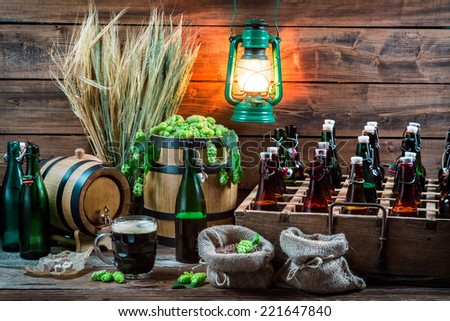Homemade beer aged in the cellar - stock photo