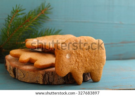 homemade biscuits (cookies) in the form of sheep and honey