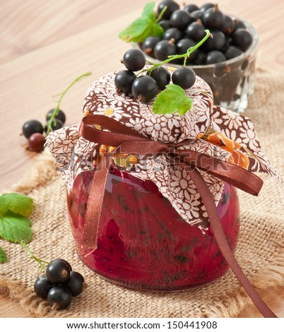 Homemade black currant jelly - stock photo