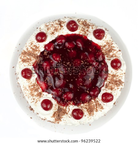 Homemade black forest cake with cherries - stock photo