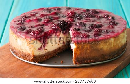 homemade blackberry cheesecake - stock photo