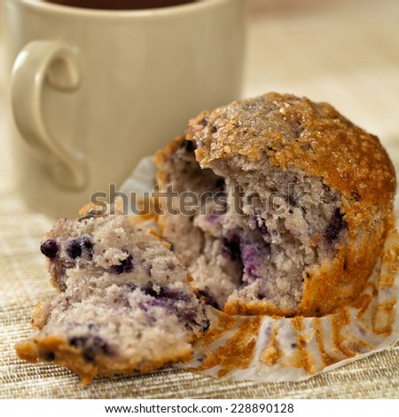 Homemade Blueberry Muffin. Selective focus. Extreme shallow DOF. - stock photo