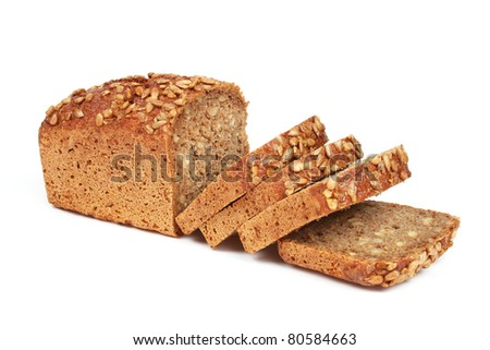 Homemade bread from rye flour isolated on white background with sunflower seeds