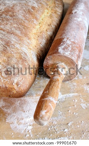 homemade bread on wooden boarder - stock photo