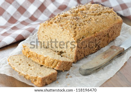 Homemade bread with bran and coriander seeds horizontal