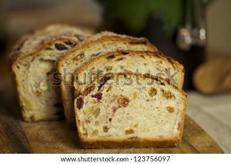 Homemade bread with dry fruits, cinnamon and nuts