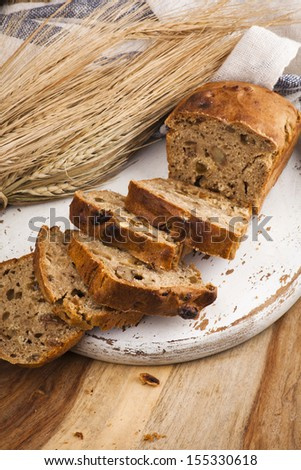 Homemade bread with raisins and walnuts