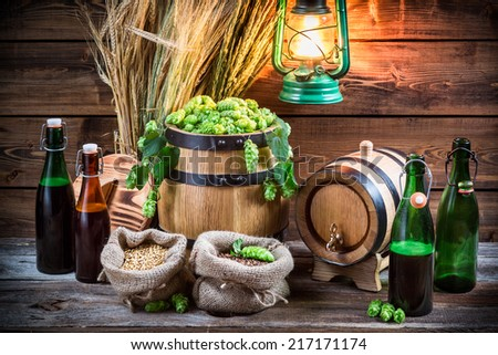 Homemade brewing beer in the cellar - stock photo