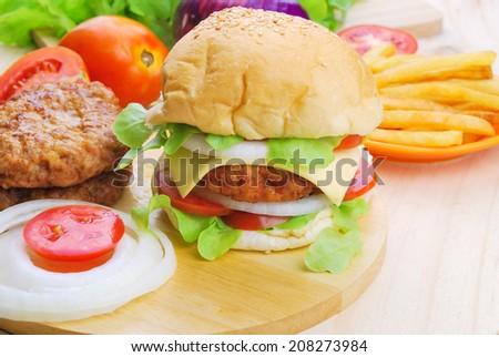 Homemade burger,hamburger with vegetable - stock photo