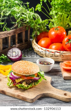 Homemade burger made �¢??�¢??from fresh vegetables
