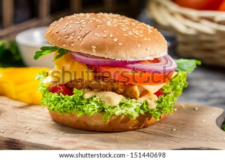Homemade burger made �¢??�¢??from fresh vegetables and chicken