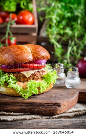 Homemade burger with vegetables - stock photo