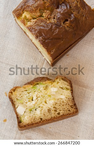 homemade cake with leek and cheese - stock photo