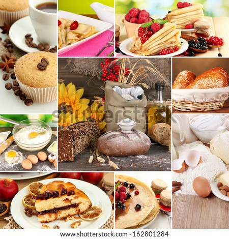 Homemade cakes collage - stock photo