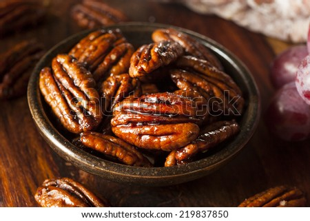 Homemade Candied Pecans with Cinnamon and Sugar - stock photo