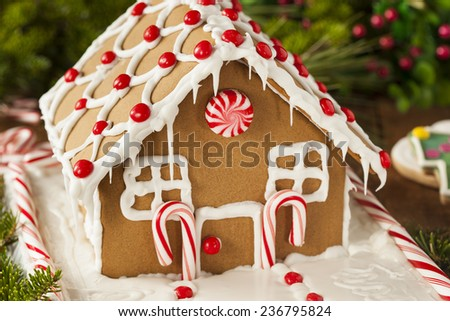 Homemade Candy Gingerbread House with Candycanes and Frosting - stock photo