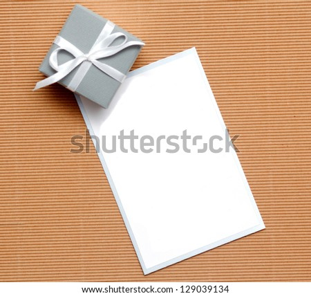homemade card with label for text and bonbonniere - stock photo