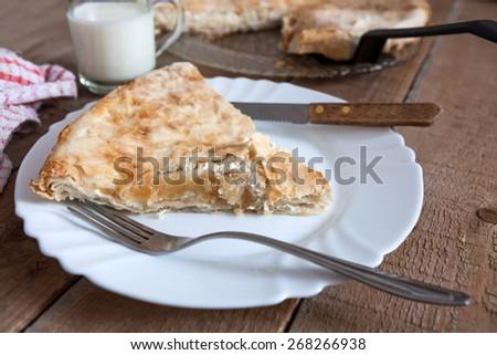 Homemade cheese, and apple pie with yogurt - stock photo